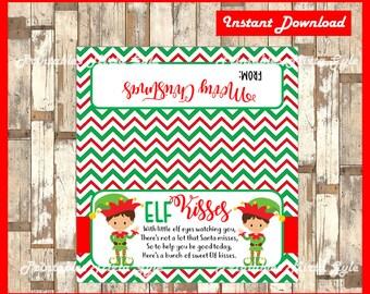 Elf Kisses Christmas Treat Bag Toppers - Gift Tag - Printable - Snack Bag - DIY - Instant Download