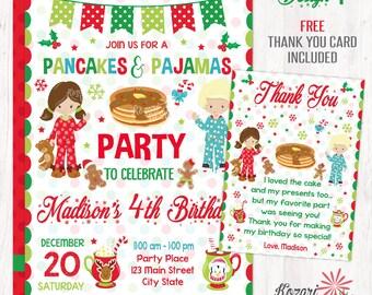 Christmas Pancakes & Pajamas Invitation, Christmas Birthday Invitation, Christmas Party