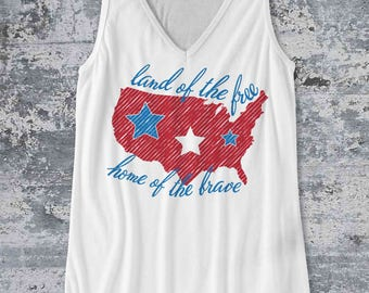 Land of the Free Home of the Brave Tank Top / USA Independence Day tank top design - Ink Printed