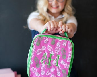 Monogrammed Lunch Box , Personalized Lunch Box, Pineapple Lunch Box