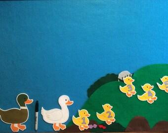 Felt stories set  5 little ducks with scenery//felt stories numbers//felt stories math//kindergarteners//preschoolers//flannel stories