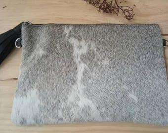Cowhide clutch Hair on Hide clutch Cowhide Pouch Grey White Crossbody