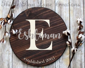 Personalized wooden sign, round wood sign, last name sign, wedding gift