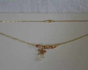 Choker with stones Crystal beige Pearl with sterling silver