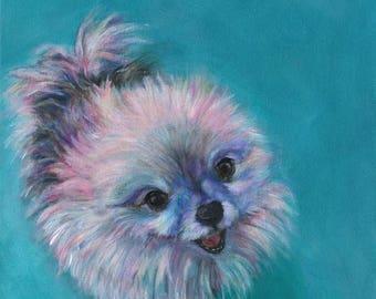 TATUM - I Adore You! pomeranian, dog art, dog lover, baby nursery, baby gift, birthday, wedding, anniversary, pink,tourquoise