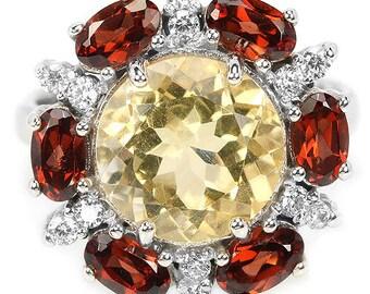 Natural Yellow Citrine, Garnet & CZ Sterling 925 Silver Ring 14K White Gold Coating