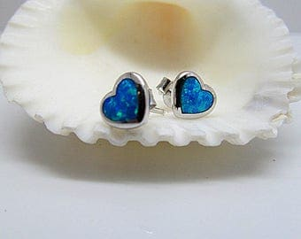Sterling Silver Blue Opal Heart Stud Earrings