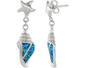 Sterling Silver Blue Opal Conch Dangle Earrings