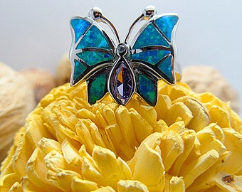 Sterling Silver Blue Opal Butterfly Statement Ring Amethyst