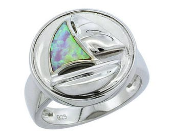 Sterling Silver Blue Opal Sail Boat Statement Ring