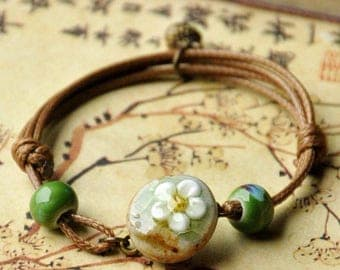Ceramics Flower Weave Wax Rope Bracelet Jewelry