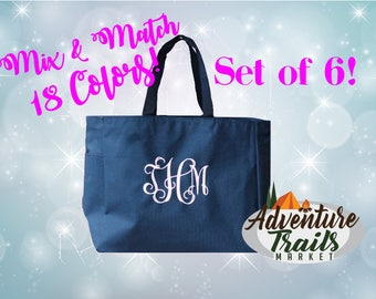 6 Bridal Party Totes, Monogrammed Tote, Set of 6, Beach Tote, Bridesmaid Tote, Wedding Tote, Wedding gift, Bridesmaid Gift, Personalized