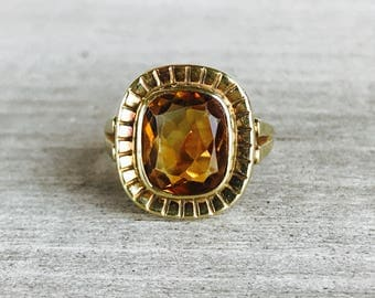 14k cushion cut citrine vintage ring