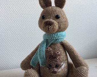 Crochet Daniel with baby in pouch-crocheted kangaroo with baby in pouch