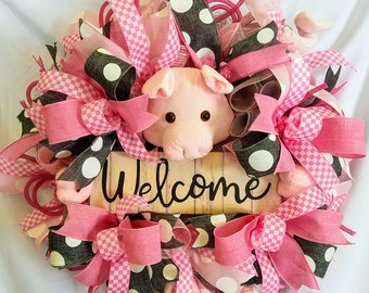 Pig Wreath, Gift for Mom, Welcome Wreath, Front Door Wreath, Spring Wreath, Everyday Wreath, Pig Wall Decor, Pig Lover Gift, Birthday Gift