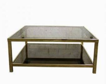 Vintage brass coffee table with smoked glass - two tier mirrored glass coffee table - 23ct gold coffee table - hollywood regency table