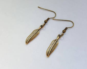 Bronze color feather earrings