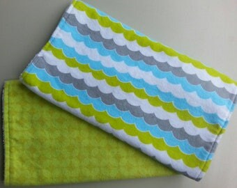 READY TO SHIP - Set of two chenille baby burp cloths, lime green and white, baby shower gift