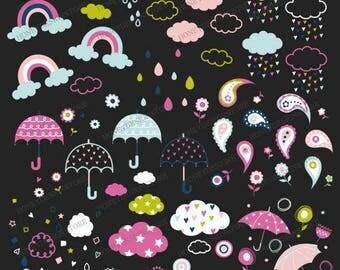 Rainy day clip art, rain clip art, cloud digital, umbrella clip art, raindrop, rainbow vector, rainy digital, personal, commercial use