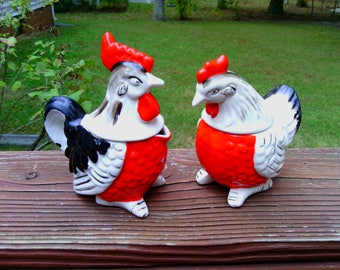 Vintage Pair of Rooster and Hen Salt and Pepper Shakers with Sugar and Creamer Bowls/Cups