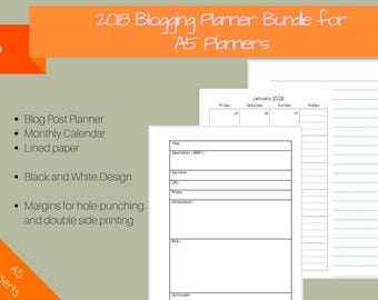2018 Blogging Planner bundle for A5, 2018 Monthly Calendar, Blog post template, Lined paper, editorial calendar, blog organizer