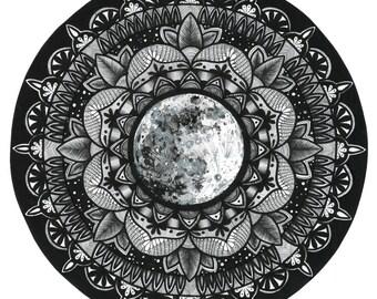 Moon Mandala Original Drawing Made with Love