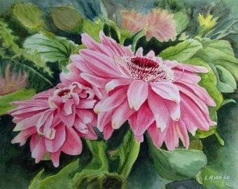 Gerberas painting original watercolor pink gerberas flower painting 9x12