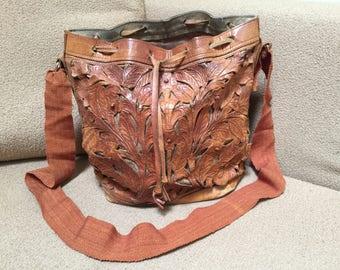Vintage hand tooled leather bag