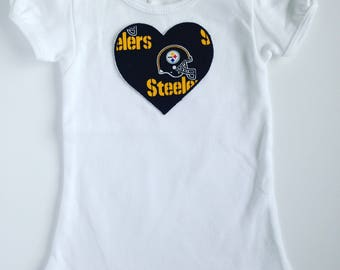 Toddler Girl Pittsburgh Steelers Heart Shirt Short Sleeve