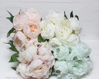 Powder pink Mint White Rose quartz peony Peony bouquet Artificial peony Fake flowers Fake bouquet Artificial flower  Fake peony- item 8050