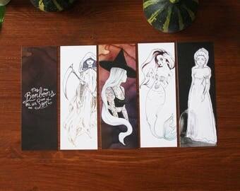 Bookmark Art drawing print, Halloween illustration bookmark