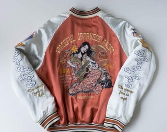 Tedman Peak'd Yellow Asia Geisha Tattoo Art Design Graceful Japanese Anego Embroidery Souvenir Sukajan Jacket Size 42 L SK382