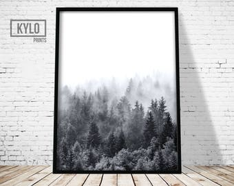 Printable Art, Forest Print, Photography Print, Fog Forest, Misty Forest, Wall Art, Nature Print, Forest Printable, Forest Photography Art
