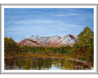 "Original acrylic painting of Beinn Eighe, Torridon, Scottish Highlands,  painting size is 16"" x 12"" , mount size is 500mm x 400mm"