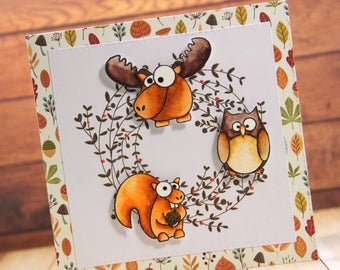 Card with funny forest animals