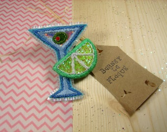 """Brooch """"Martini olive and lime green"""""""