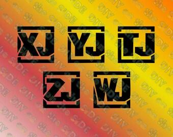 SVG Cut File Jeep BlOCK letters xj, yj, tj, zj, wj Instant Download