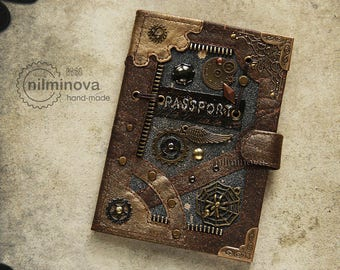 Steampunk passport cover Brown, Steampunk passport holder, Travel passport, PU leather passport cover, PU leather passport holder