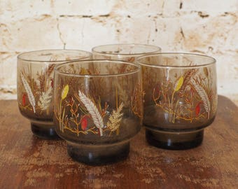 1970s Set of 4 Smoked Glass Harvest Tumblers
