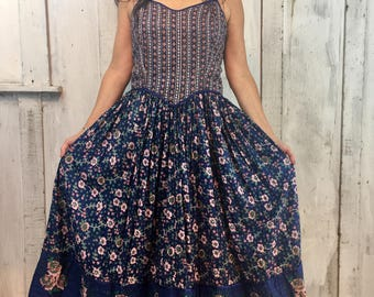 Vintage Adini Indian Dress// Adini Gauze Sun Dress// Indian Festival Dress/ Boho Hippie Ethnic Dress