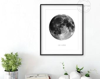 Full Moon, La Luna, La Lune, Moon Art PRINTABLE Wall Art, Planet Space, Black and White, Home Decor, Digital Download Poster Print Design