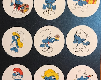 Precut Edible Smurf Characters to decorate your cupcakes, cookies or cake with.