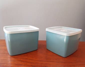 Vintage Blue Pair of Tupperware Containers