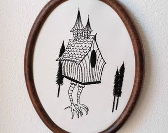 embroidery Baba Jaga house on chicken legs