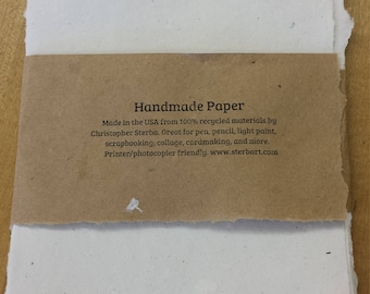 Handmade paper from upcycled materials 8.5 x 5.5 inches