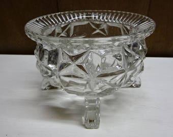 Pressed Glass Sugar Bowl/Compote/Large/Vintage