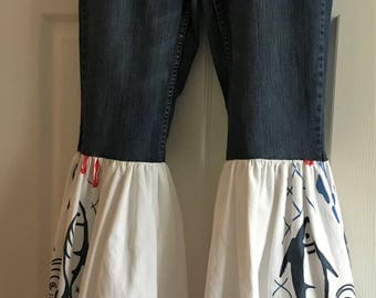 Upcycled jeans,upcycled clothing for women, festival clothing women, bell bottom jeans boho clothing women,flare jeans for women, hippie