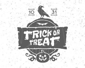 Trick Or Treat SVG Halloween SVG Raven svg file Trick Or Treat svg Trick Or Treat svg file Halloween raven svg Cricut Cameo Silhouette svg