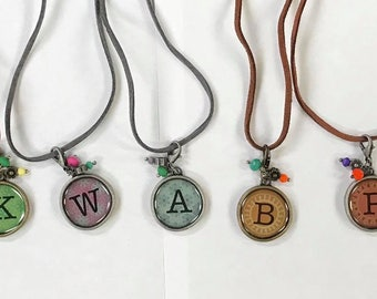 Initial Charm Necklace on a Leather Cord