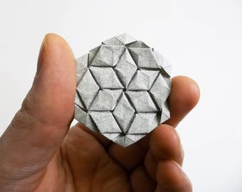 Hexagon for Tessellations, gray, grey, elephant hide, origami, paper